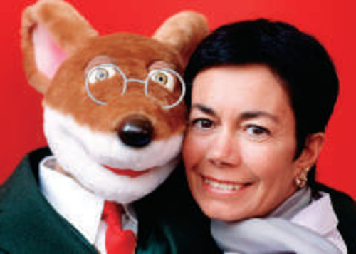 Elisabetta Dami with a puppet of Geronimo Stilton