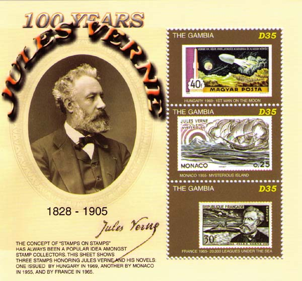 Stamps about Jules Verne