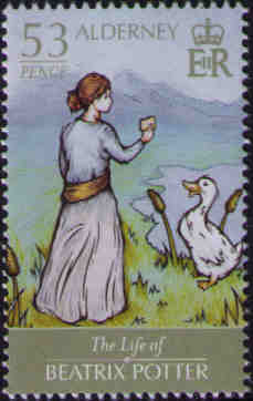 Beatrix Potter feeding Duck
