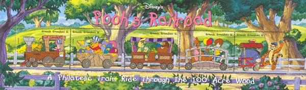 Winnie the Pooh and friends on the train
