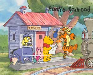 Winnie the Pooh and friends waiting the train