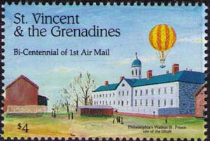 Blanchard's balloon over Philadelphia