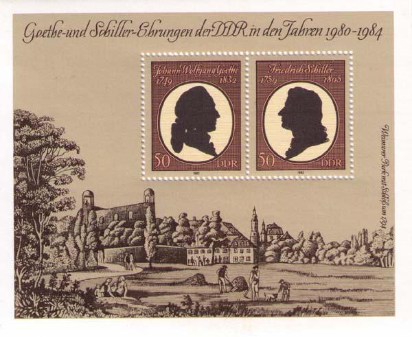 Silueta de Schiller y Goethe