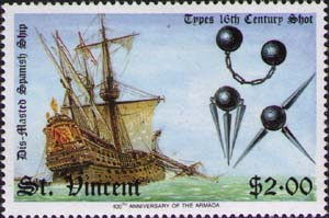Dismasted Spanish galleon and 16th-century shot